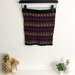 Winter Pattern Knit Mini Skirt